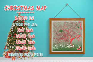 Print on Demand: Ho Chi Minh - Vietnam Christmas Map Graphic Photos By tienstencil