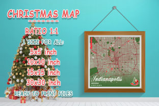 Print on Demand: Indianapolis - Indiana Christmas Map Graphic Photos By tienstencil