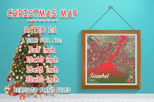 Print on Demand: Istanbul - Turkey Christmas Map Graphic Photos By tienstencil