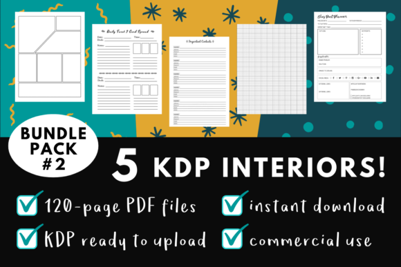 Print on Demand: KDP Interior Pack #2 - 5 Templates Graphic KDP Interiors By mothmos