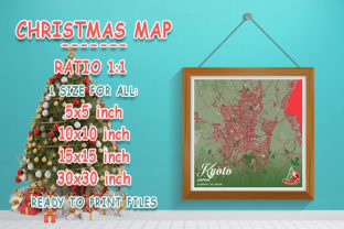 Print on Demand: Kyoto - Japan Christmas Map Graphic Photos By tienstencil