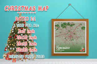 Print on Demand: Lancaster - United States Christmas Map Graphic Photos By tienstencil