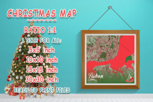 Print on Demand: Lisbon - Portugal Christmas Map Graphic Photos By tienstencil