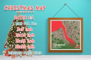 Print on Demand: Liverpool - United Kingdom Christmas Map Graphic Photos By tienstencil