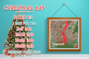 Print on Demand: Longueuil - Canada Christmas Map Graphic Photos By tienstencil