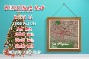 Print on Demand: Los Angeles - Califonia Christmas Map Graphic Photos By tienstencil