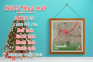 Print on Demand: Louisville - Kentucky Christmas Map Graphic Photos By tienstencil