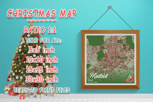 Print on Demand: Madrid - Spain Christmas Map Graphic Photos By tienstencil