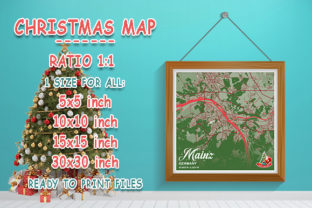 Print on Demand: Mainz - Germany Christmas Map Graphic Photos By tienstencil