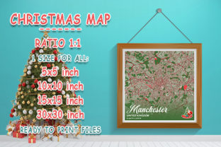 Print on Demand: Manchester - UK Christmas Map Graphic Photos By tienstencil