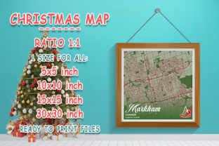 Print on Demand: Markham - Canada Christmas Map Graphic Photos By tienstencil