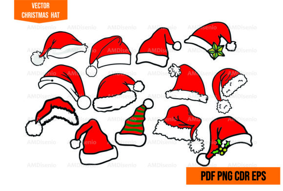 Merry Christmas Vector Hat Graphic Illustrations By AM Diseño