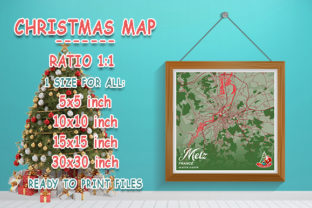 Print on Demand: Metz - France Christmas Map Graphic Photos By tienstencil