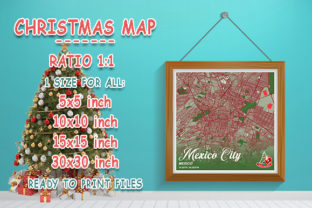 Print on Demand: Mexico City - Mexico Christmas Map Graphic Photos By tienstencil