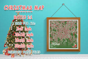 Print on Demand: Milan - Italy Christmas Map Graphic Photos By tienstencil