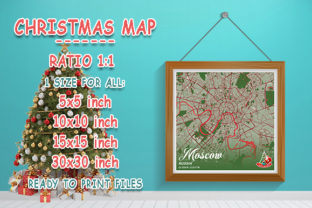 Print on Demand: Moscow - Russia Christmas Map Graphic Photos By tienstencil