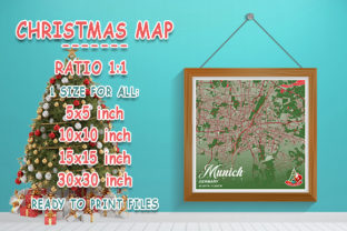 Print on Demand: Munich - Germary Christmas Map Graphic Photos By tienstencil