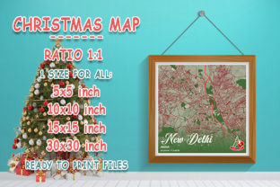 Print on Demand: New Delhi - India Christmas Map Graphic Photos By tienstencil