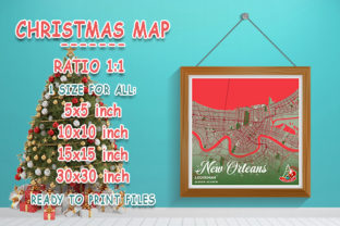 Print on Demand: New Orleans - Louisiana Christmas Map Graphic Photos By tienstencil