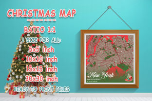 Print on Demand: New York - United States Christmas Map Graphic Photos By tienstencil