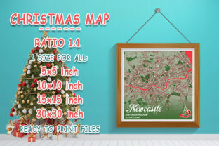 Print on Demand: Newcastle - United Kingdom Christmas Map Graphic Photos By tienstencil