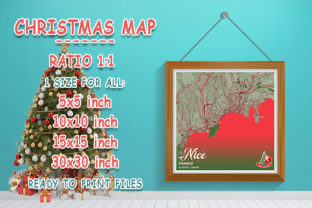 Print on Demand: Nice - France Christmas Map Graphic Photos By tienstencil