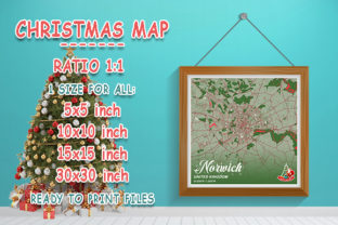 Print on Demand: Norwich - United Kingdom Christmas Map Graphic Photos By tienstencil