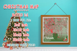 Print on Demand: Orlando - United States Christmas Map Graphic Photos By tienstencil