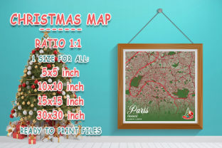 Print on Demand: Paris - France Christmas Map Graphic Photos By tienstencil