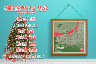 Print on Demand: Perm - Russia Christmas Map Graphic Photos By tienstencil