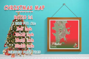 Print on Demand: Phuket - Thailand Christmas Map Graphic Photos By tienstencil