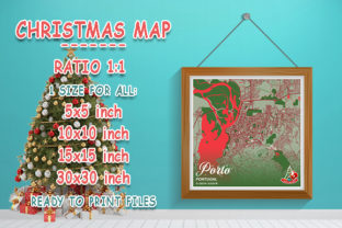 Print on Demand: Porto - Portugal Christmas Map Graphic Photos By tienstencil