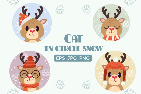 Reindeer in Circle Snow Chistmas Theme Graphic Illustrations By Guppic the duck