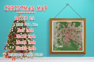Print on Demand: Rome - Italy Christmas Map Graphic Photos By tienstencil