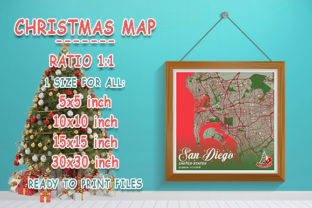 Print on Demand: San Diego - United States Christmas Map Graphic Photos By tienstencil
