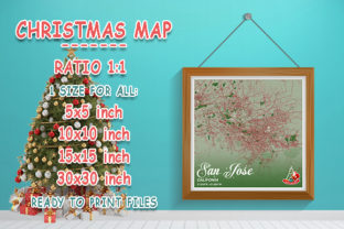 Print on Demand: San Jose - Califonia Christmas Map Graphic Photos By tienstencil