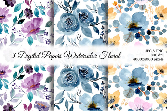 Print on Demand: Seamless Pattern Floral Watercolor 36 Graphic Patterns By asrulaqroni