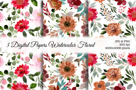 Print on Demand: Seamless Pattern Floral Watercolor 42 Graphic Patterns By asrulaqroni