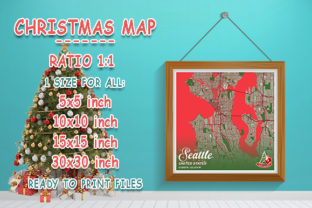 Print on Demand: Seattle - United States Christmas Map Graphic Photos By tienstencil