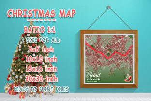 Print on Demand: Seoul - South Korean Christmas Map Graphic Photos By tienstencil