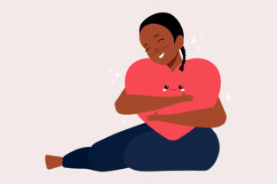 Print on Demand: Smile Female Hugging Herself with Heart Graphic Illustrations By Musbila