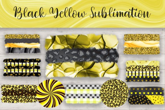 Sublimation Black Yellow Background Graphic Backgrounds By PinkPearly