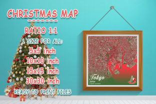 Print on Demand: Tokyo - Japan Christmas Map Graphic Photos By tienstencil
