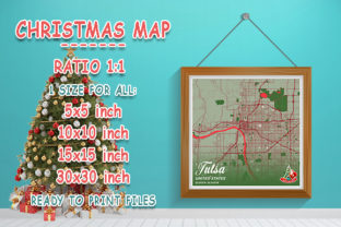 Print on Demand: Tulsa - United States Christmas Map Graphic Photos By tienstencil