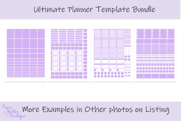 Print on Demand: Ultimate Planner Sticker Template Bundle Graphic Print Templates By PaperWishesBoutique