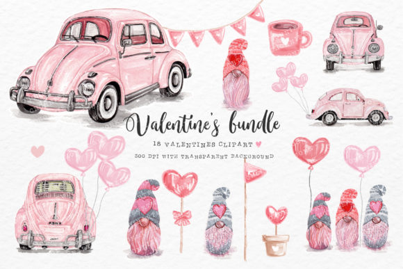 Valentine's Day Bundle with Vintage Cars Graphic Crafts By Chonnieartwork