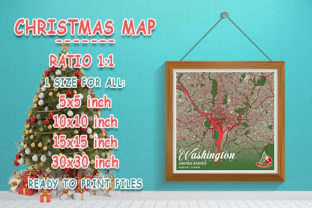Print on Demand: Washington - United States Christmas Map Graphic Photos By tienstencil