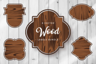 Print on Demand: Wood Labels Clipart Vector Set Graphic Crafts By DTCreativeLab