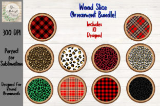 Print on Demand: Wood Slice with Plaid and Leopard Design Graphic Print Templates By You Make It Personal