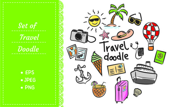 Set of Travel Icon in Doodle Style Graphic Illustrations By Big Barn Doodles
